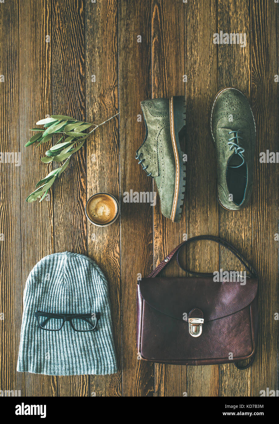 Flat-lay of woman's fall accessories and coffee, copy space - Stock Image
