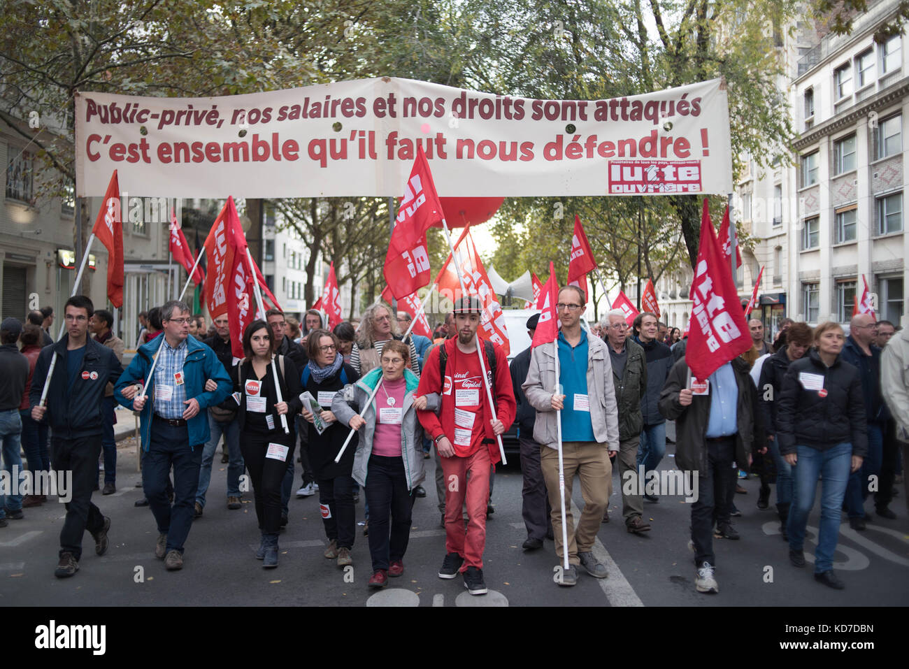 Demonstration in Paris of the civil service, Strike and public demonstration on Tuesday 10 October 2017 at the call Stock Photo
