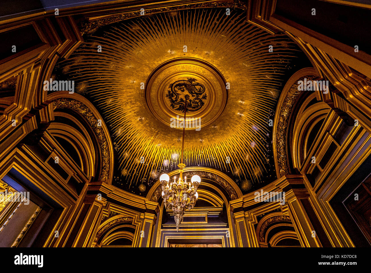One of the many beautiful ceilings in the Palais Garnier, or Paris Opera - Stock Image