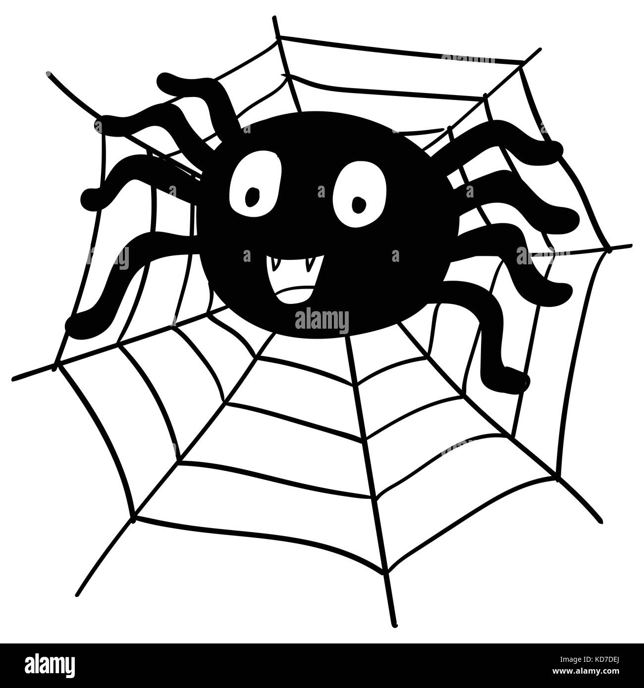Hand drawing Spider Cartoon and web for halloween concept, isolated on white background -Vector Illustration - Stock Vector
