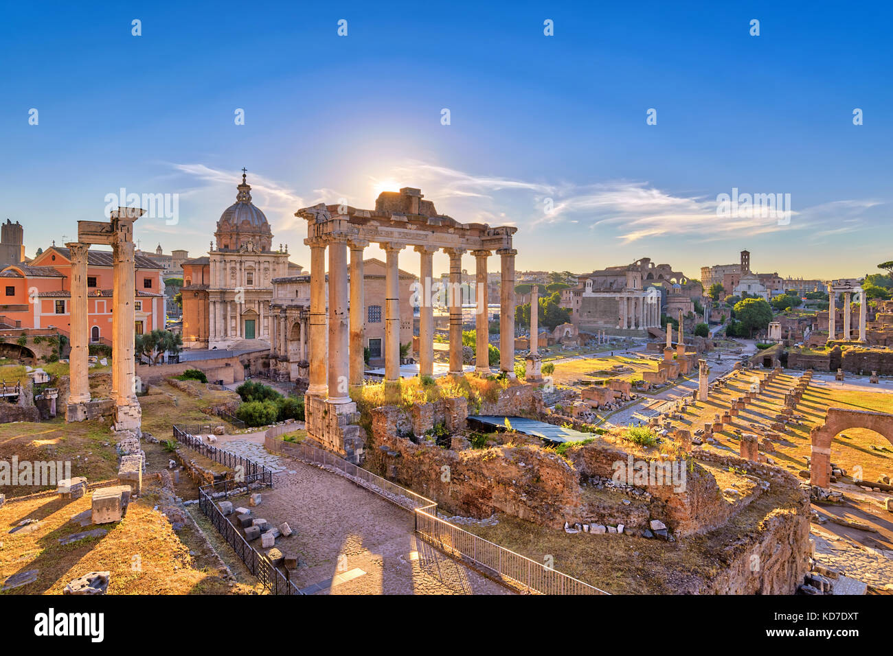Rome sunrise city skyline at Rome Forum (Roman Forum), Rome, Italy - Stock Image