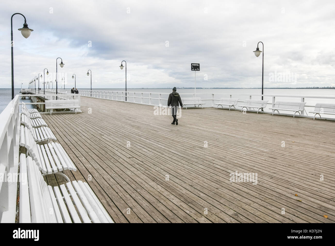 Gdynia, Poland. 10th Oct, 2017. The Orlowo Pier (Molo w Orlowie) where new CCTV camera will be installed is seen Stock Photo