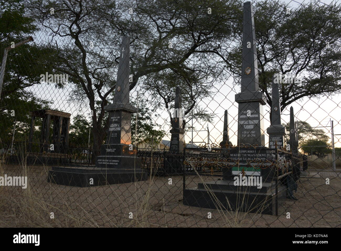 Picture of a cemetery for high-ranking leaders of the Herero ethnic group in Okahandja, Namibia, taken 14 May 2017. - Stock Image