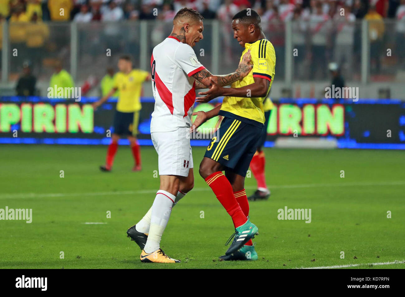 63dd357d0 Peru s Paolo Guerrero (L) and Colombia s Oscar Murillo (R) react during the  Russia 2018 FIFA World Cup qualifier match