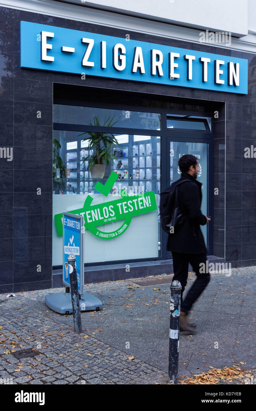 E-cigarette shop in Berlin, Germany - Stock Image