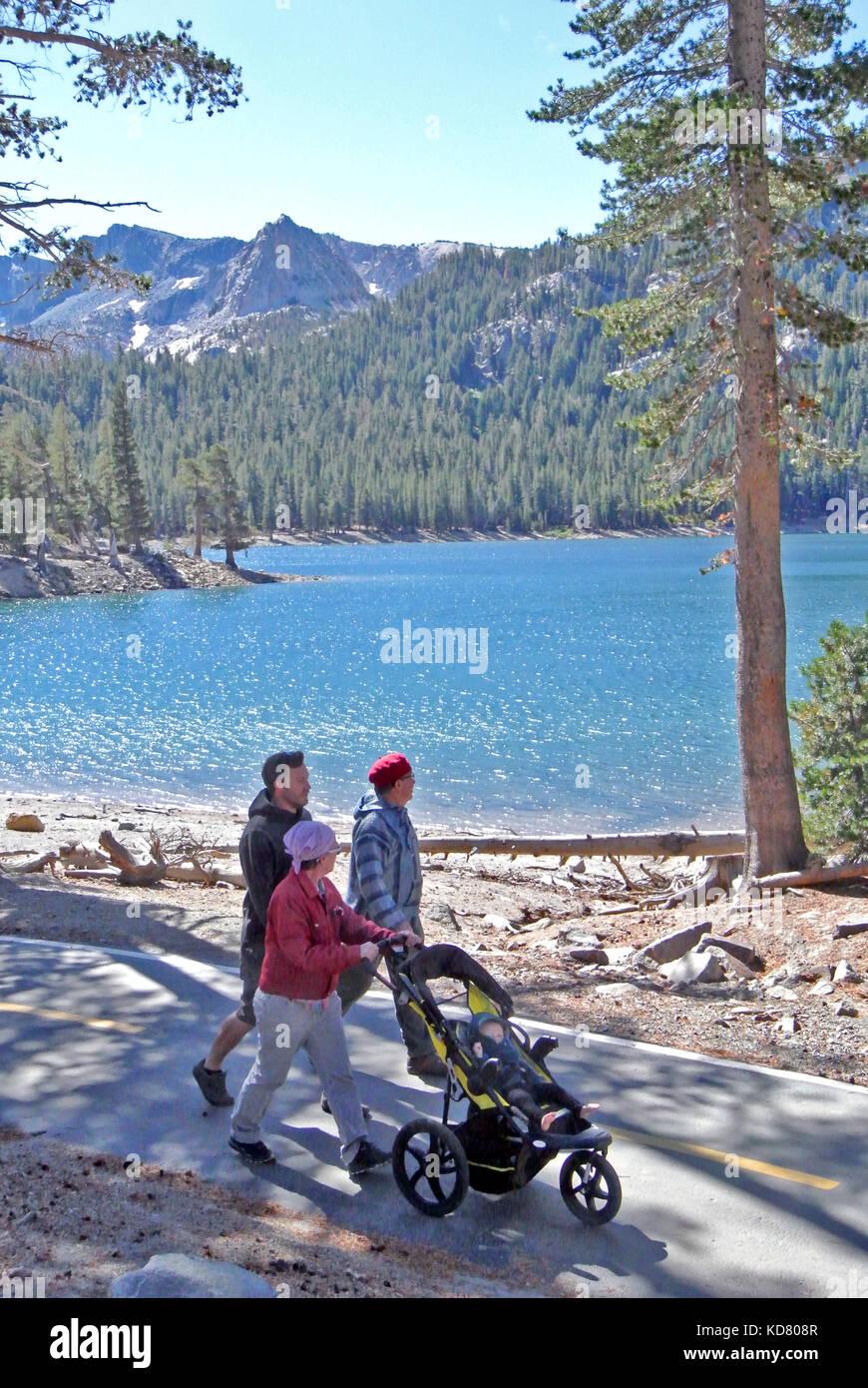 family strolls on june lake  near yosemite Stock Photo