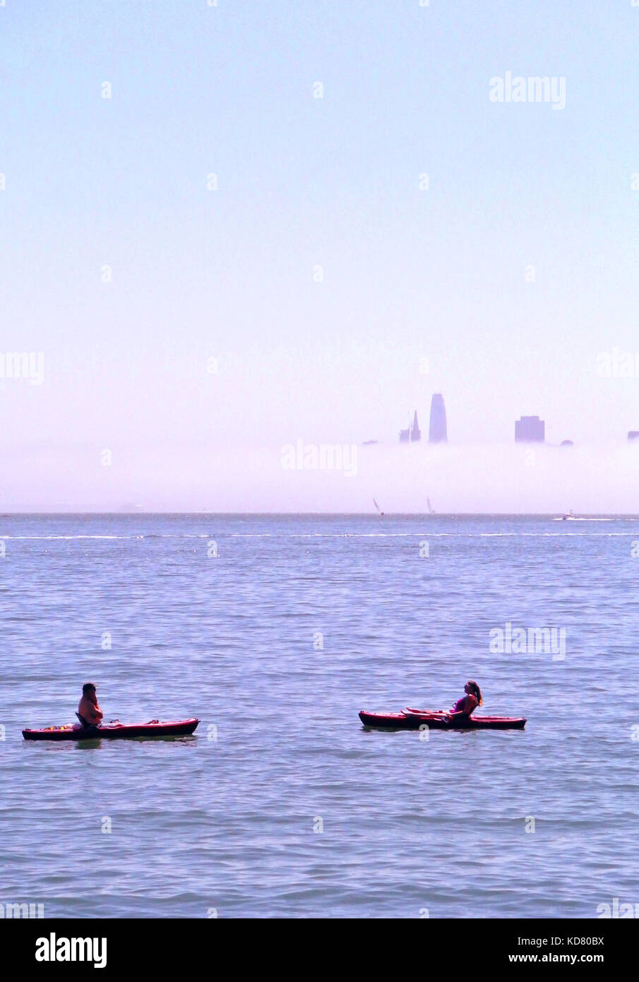 kayakers on san francisco bay Stock Photo