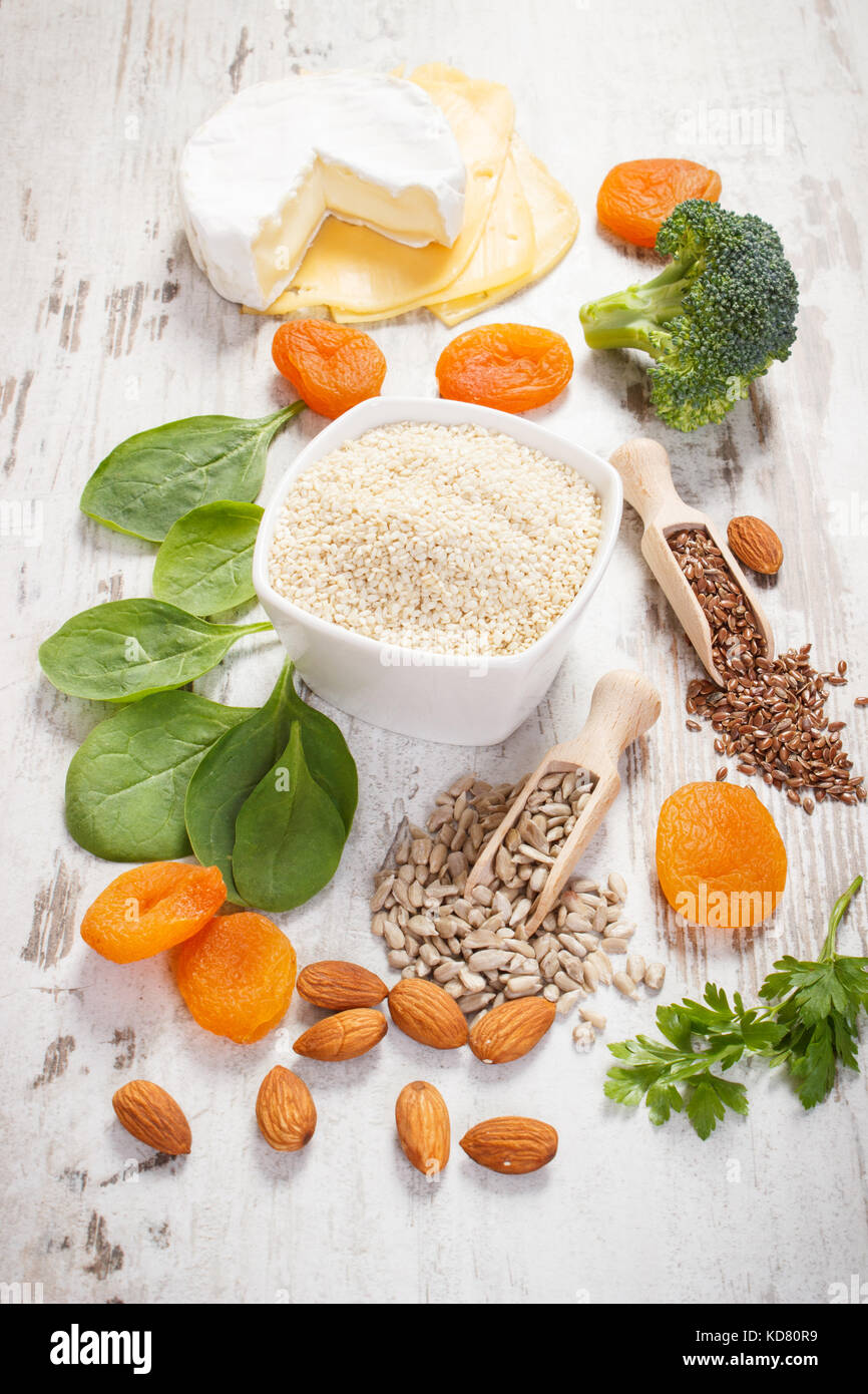 Ingredients or products containing calcium and dietary fiber, sources of minerals, healthy lifestyle and nutrition - Stock Image