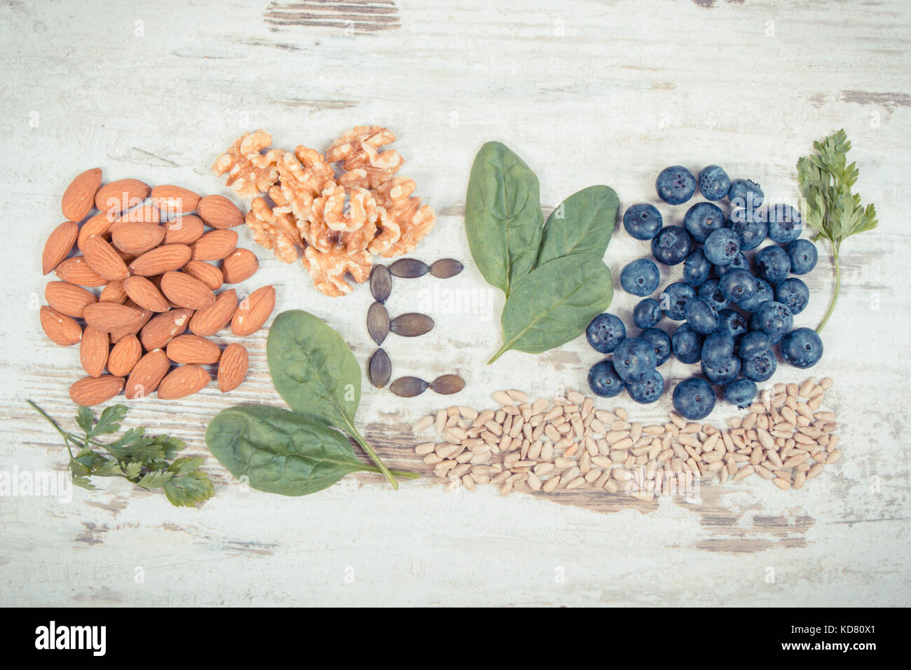 Vintage photo, Natural ingredients or products as source vitamin E, minerals and dietary fiber, healthy nutrition - Stock Image