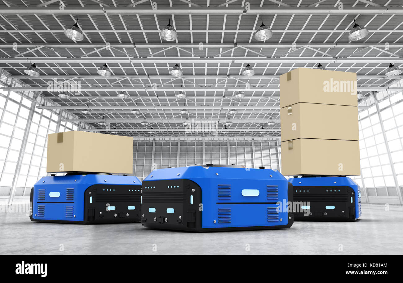 3d rendering warehouse robots carry boxes in factory Stock Photo