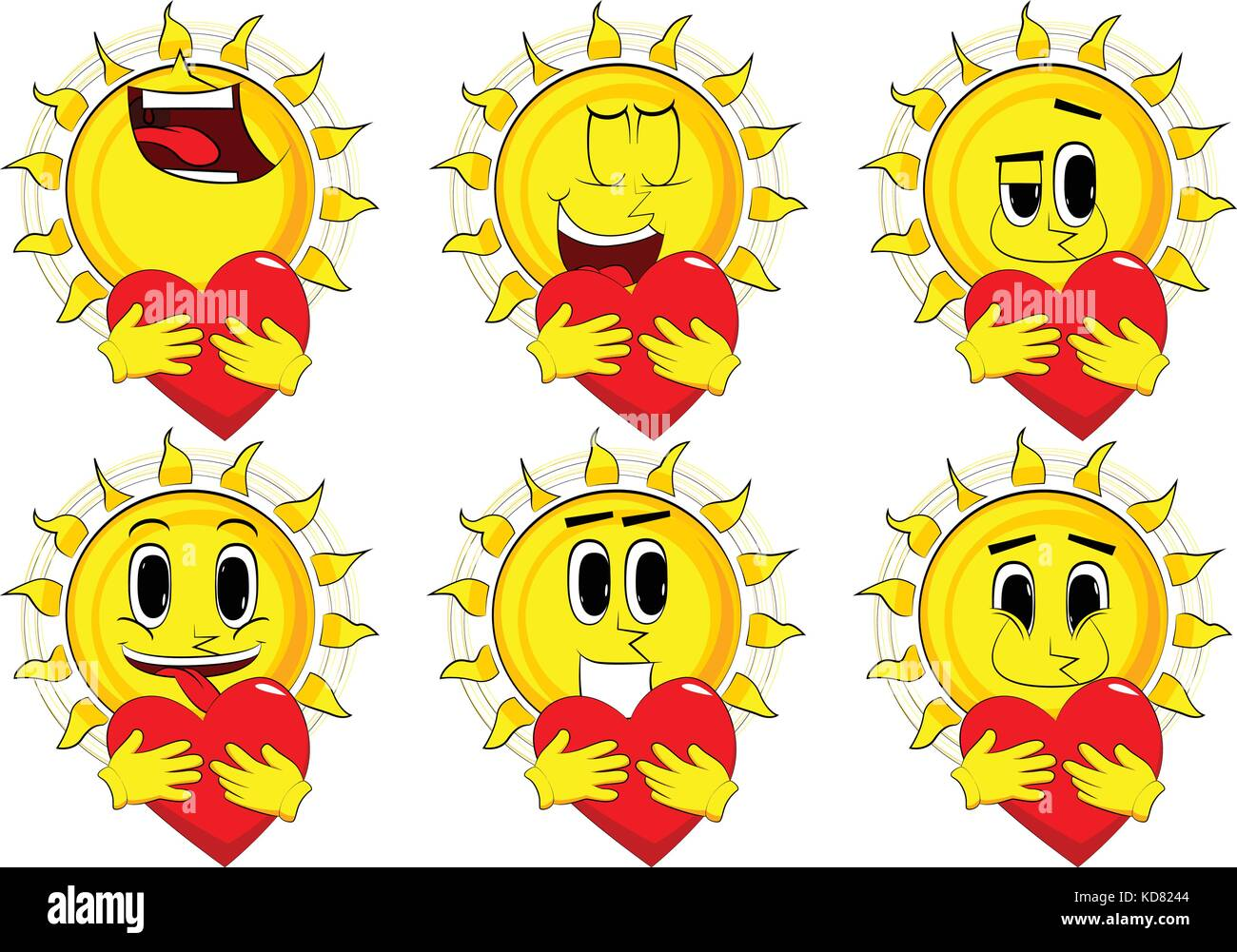 Cartoon Sun Hugging Big Red Heart Collection With Happy Faces Stock