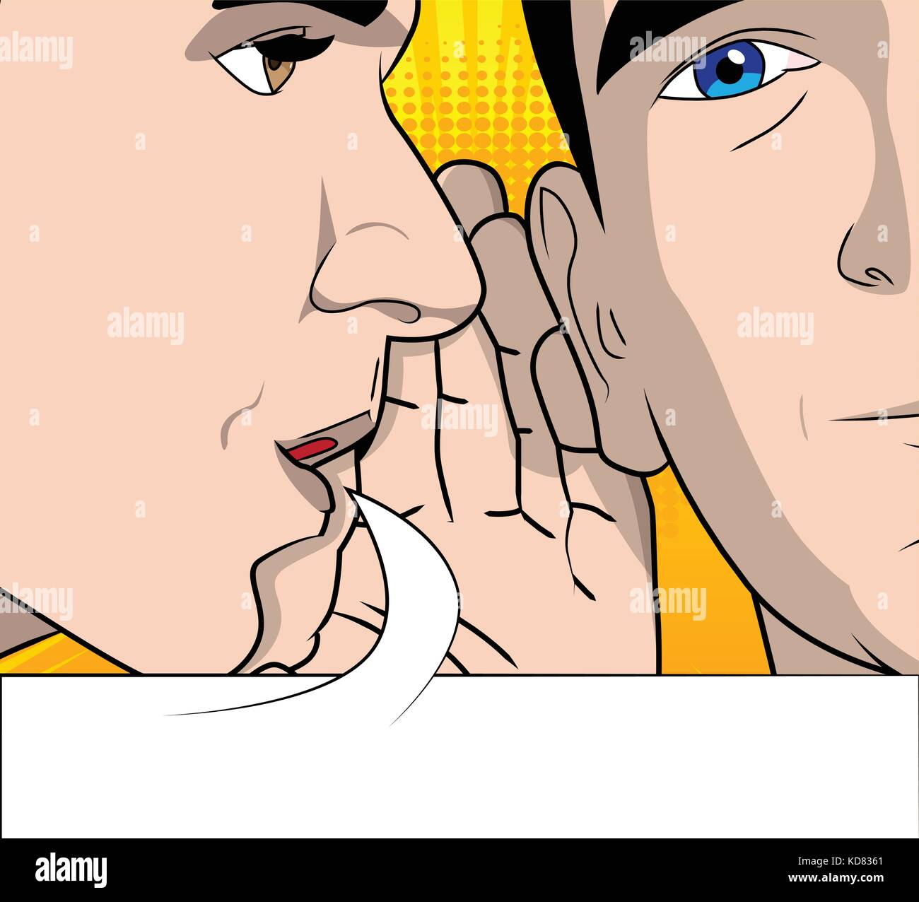 Two men gossiping with speech bubble. Vector cartoon, retro style close up illustration. - Stock Vector