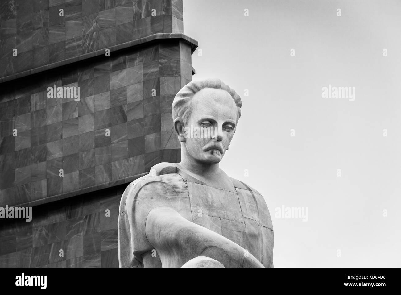 White marble statue of Jose Marti, Memorial Jose Marti, Plaza de la Revolución (Revolution Square), Havana, - Stock Image