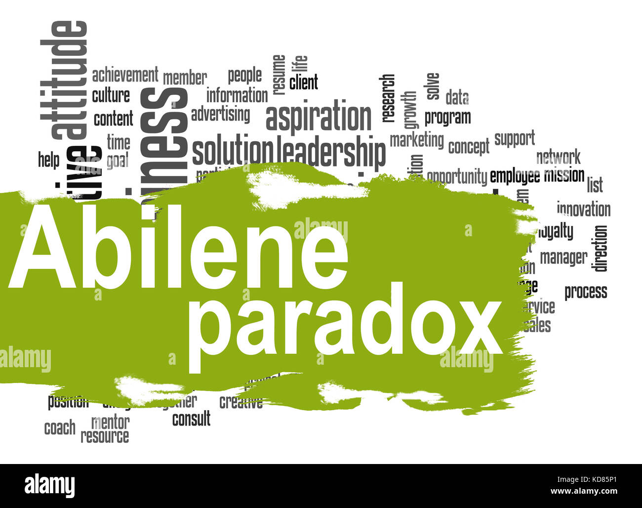 Abilene Paradox word cloud with green banner image with hi-res rendered artwork that could be used for any graphic Stock Photo