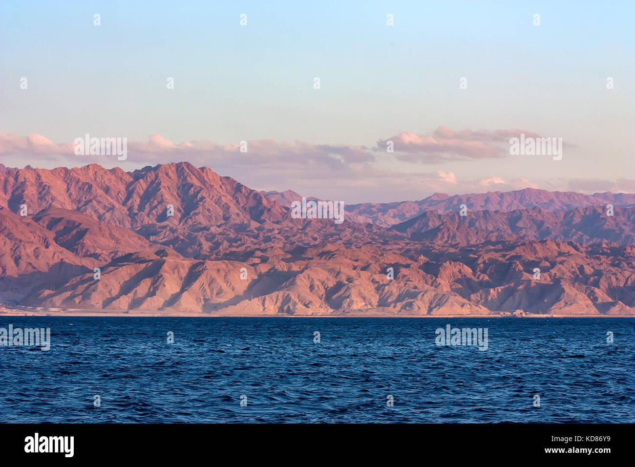 Red Sea rocky coastline in Saudi Arabia - Stock Image