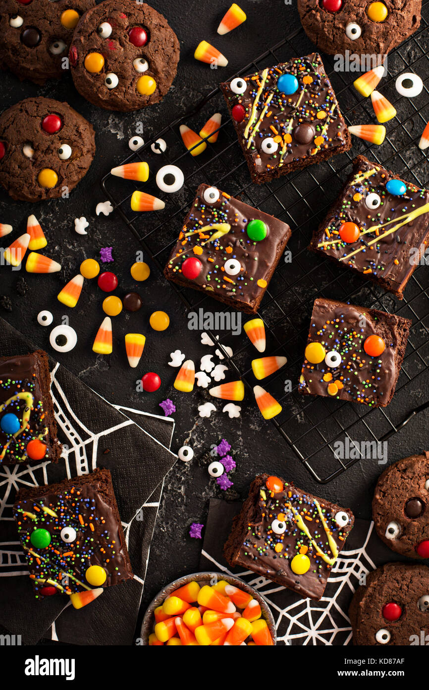 Chocolate monster brownies homemade treats for Halloween - Stock Image