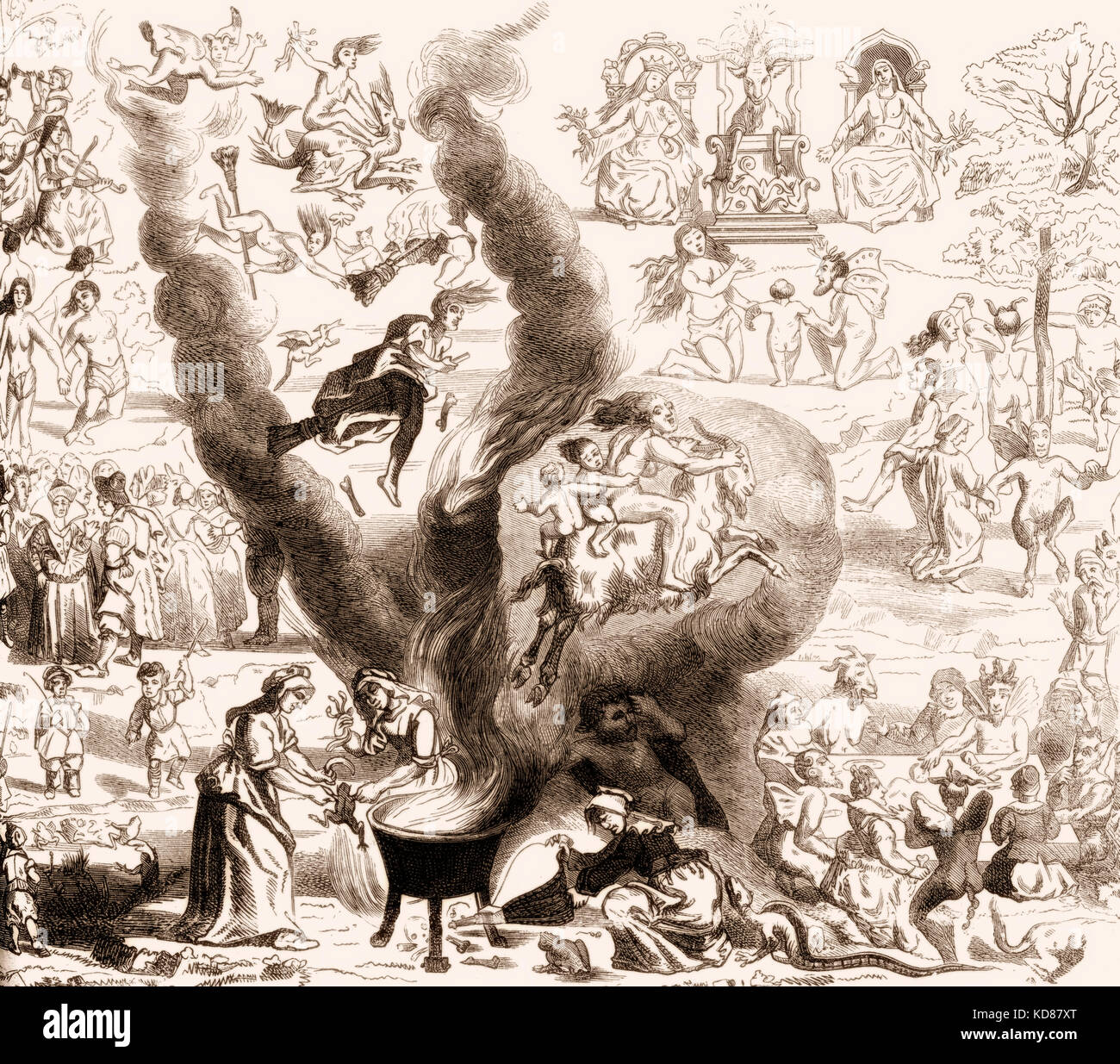 A Witches' Sabbath in Middle Ages - Stock Image