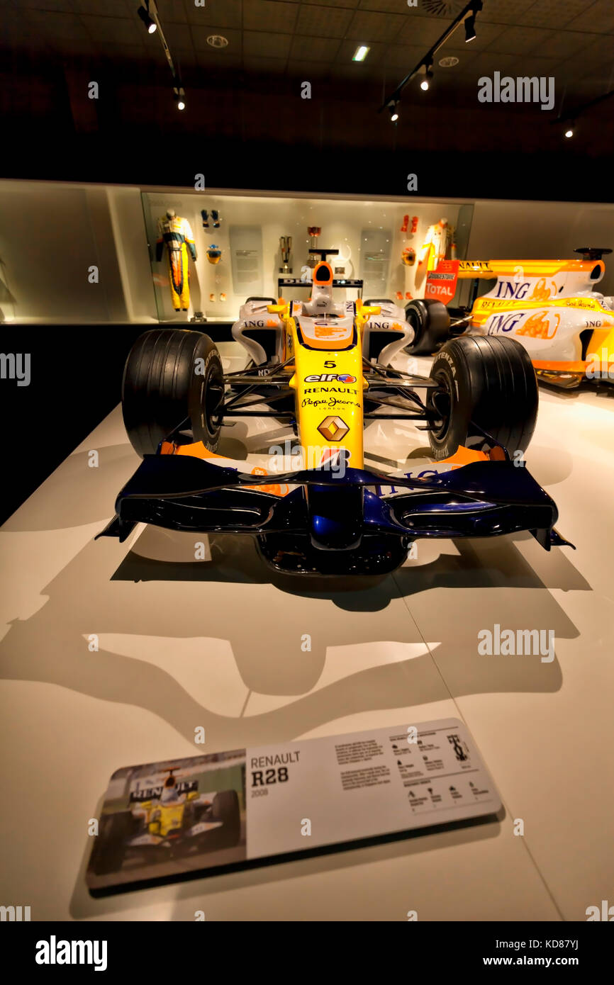 Renault R28 of F1 with which competed Fernando Alonso in years 2008. Photograph taken on October, 2017 at the Fernando - Stock Image