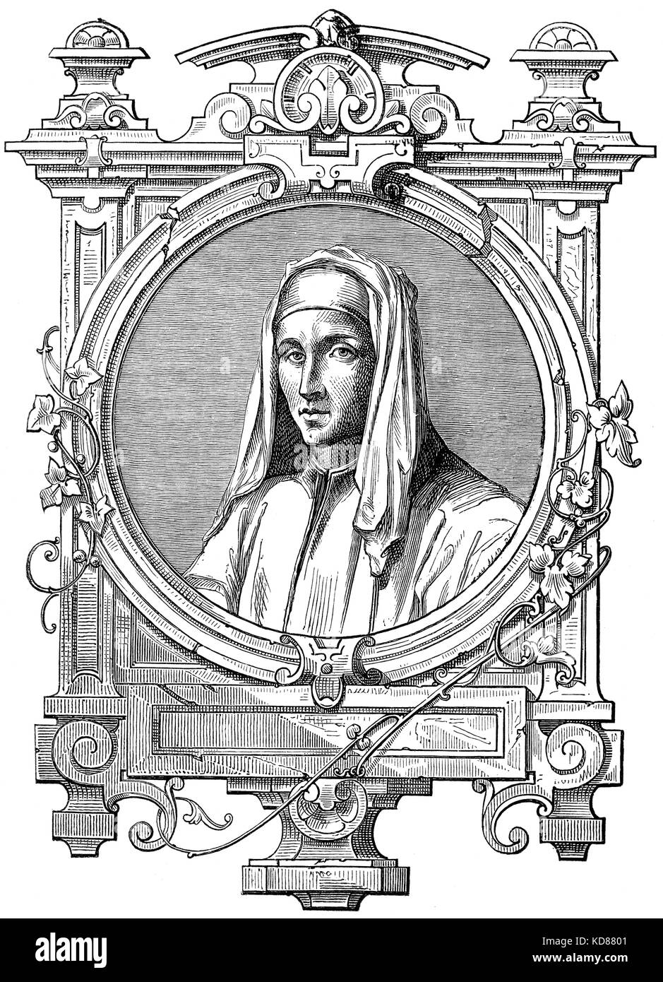 Guido of Arezzo, 992 – after 1033, an Italian music theorist of the Medieval era - Stock Image