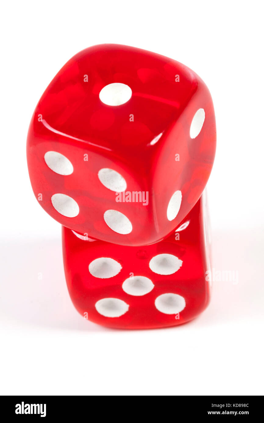 Isolated red casino dice on white ackground Stock Photo