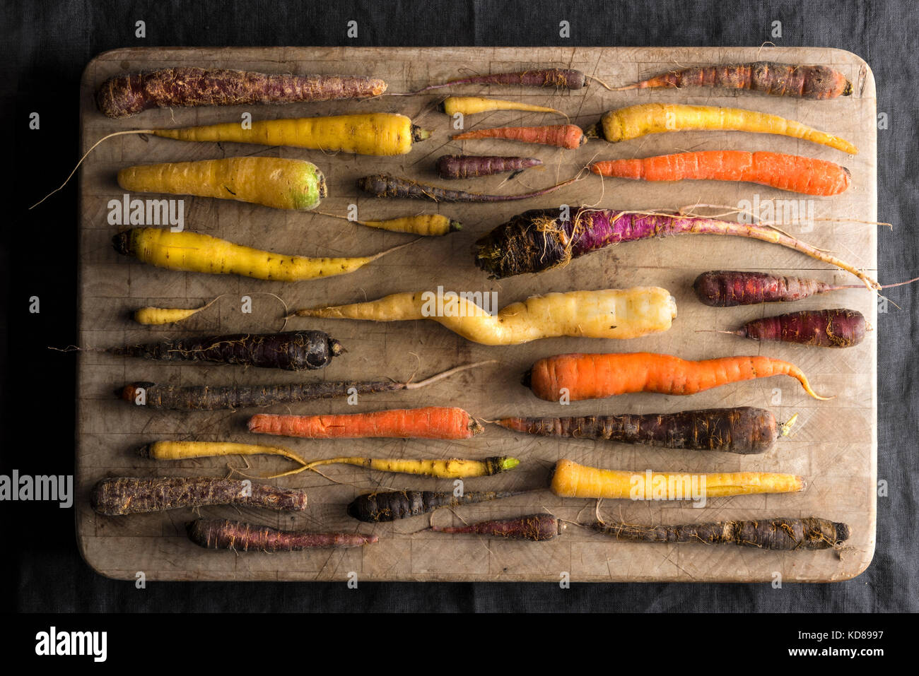 An overhead shot of an array of rainbow carrots in many colors and shapes all with a fresh from the farm, rustic - Stock Image