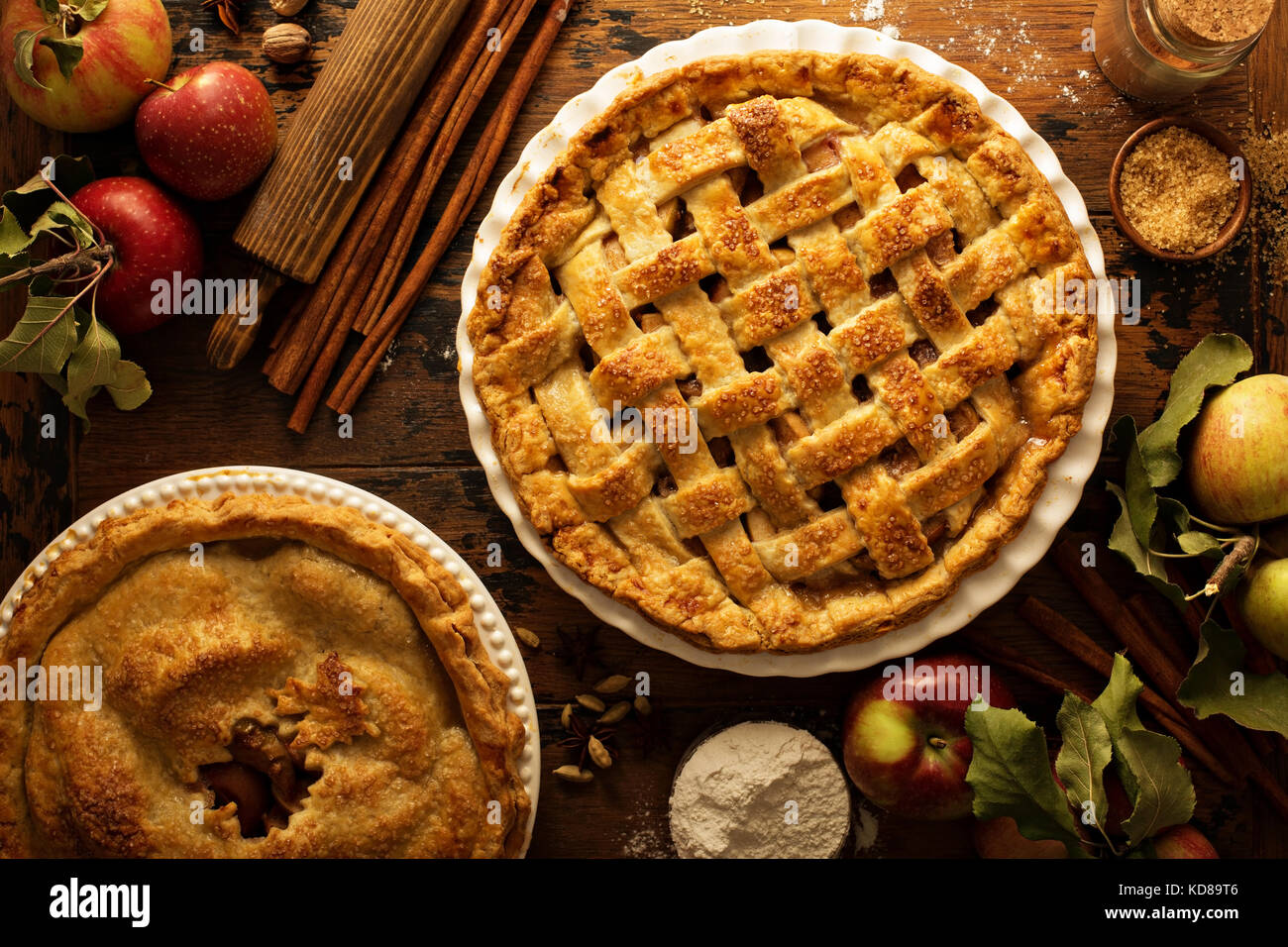 Apple pie decorated with lattice - Stock Image