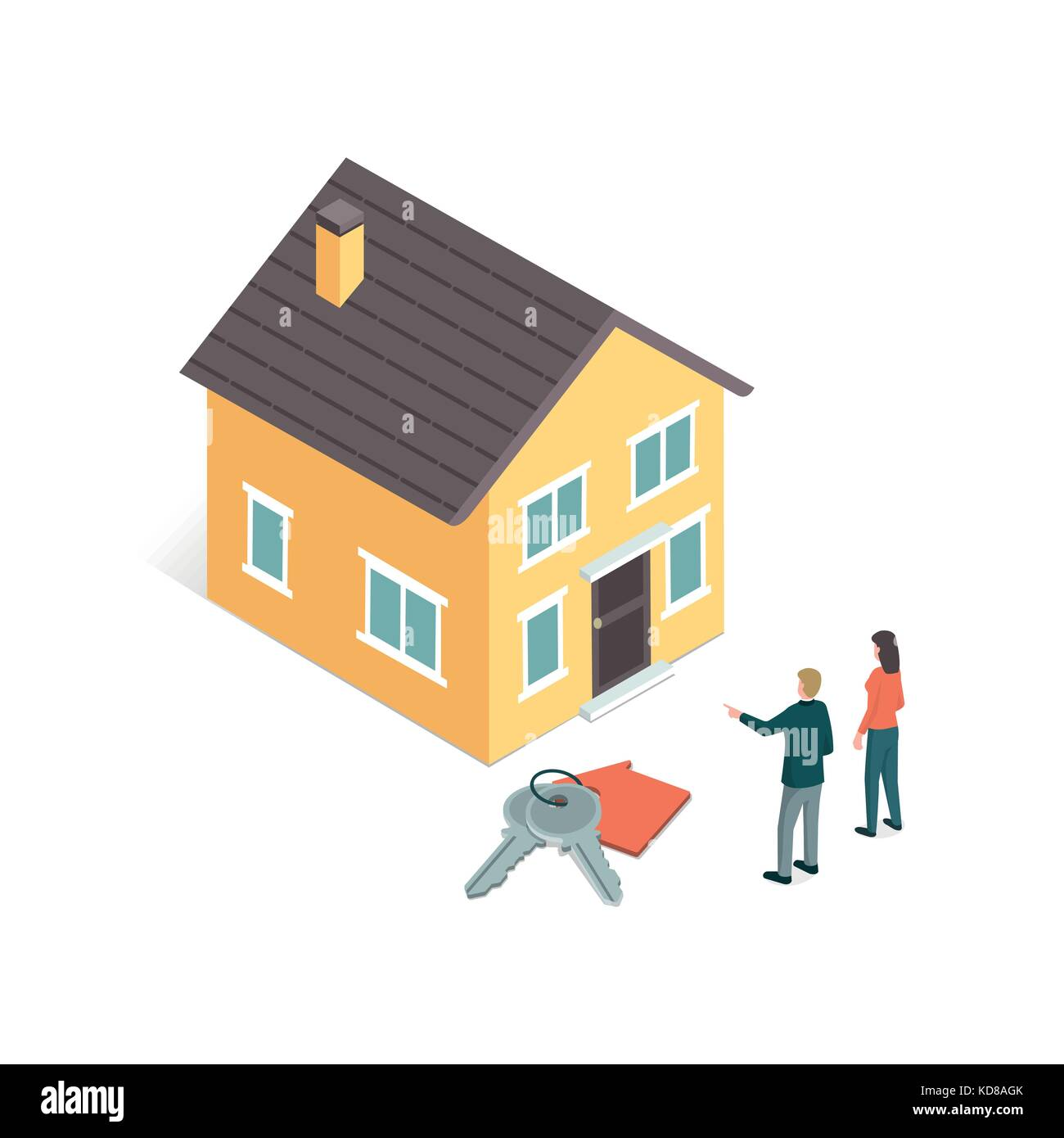 Real estate agent selling a dream house to a female customer, house keys on the foreground - Stock Vector