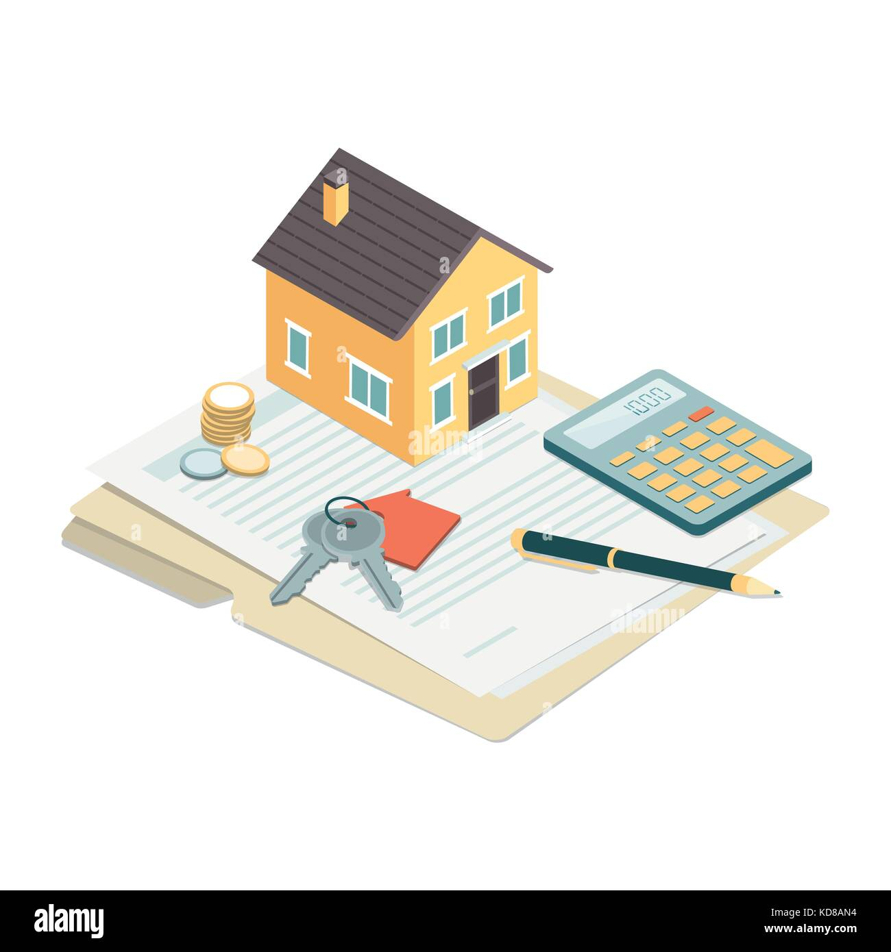 Model house, house keys and contract: real estate, loans and investments concept Stock Vector