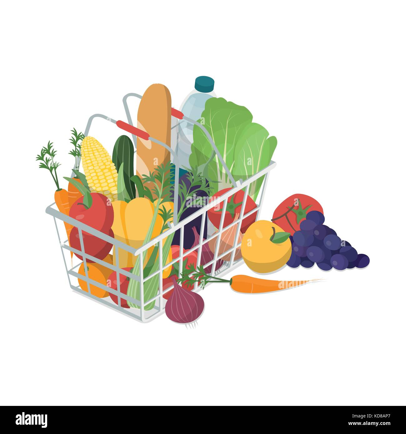 Shopping basket with fresh vegetables, fruit and water bottle, grocery shopping and healthy food concept - Stock Vector