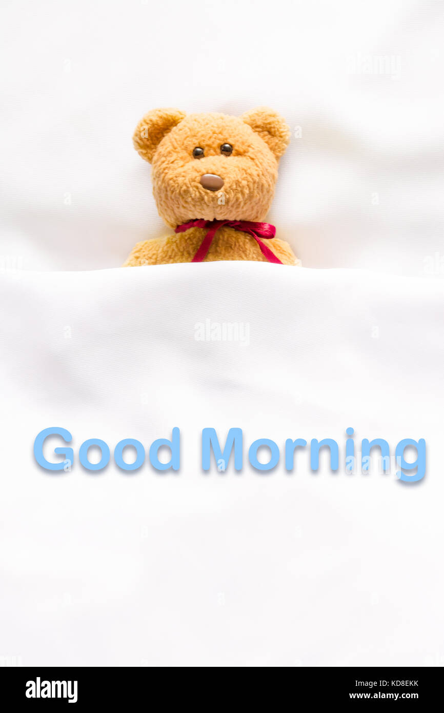 Teddy Bear Lying In The White Bed With Message Good Morning Stock