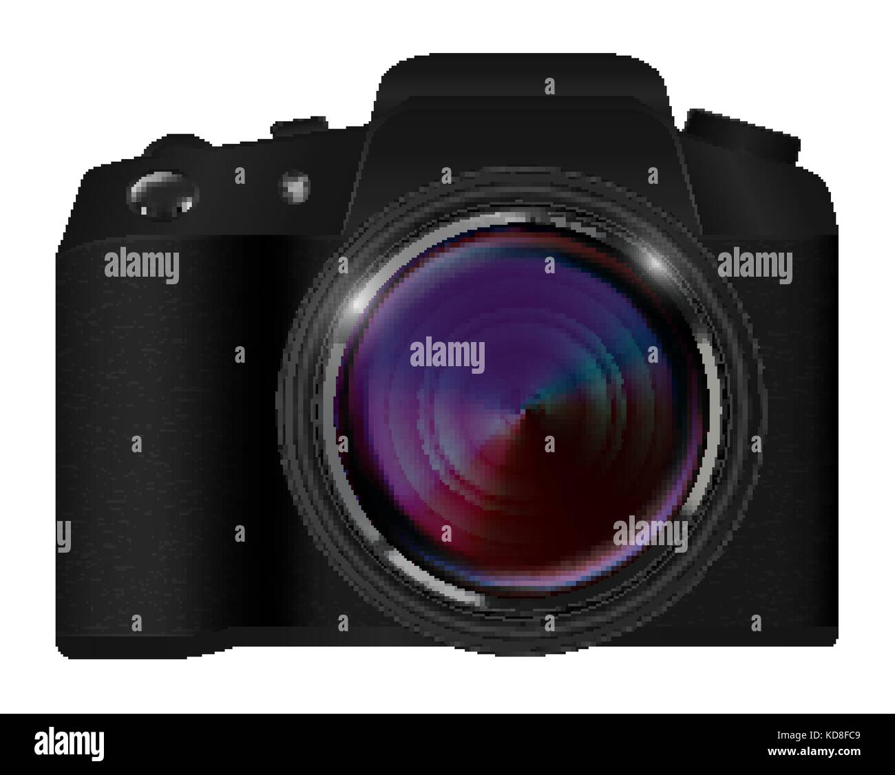 real dslr camera vector on a white background - Stock Vector