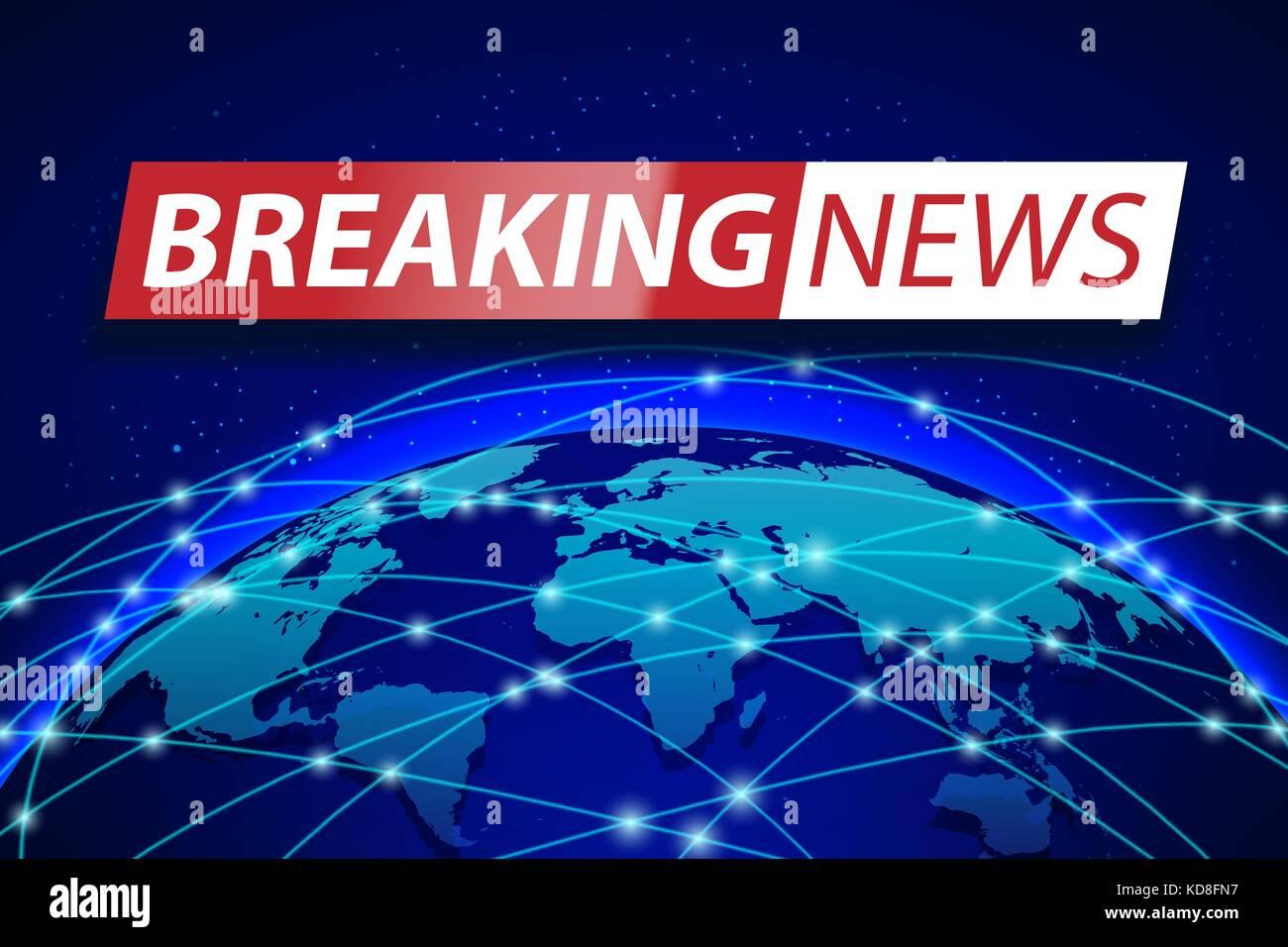 Breaking News Live On Blue World Map Background Business Technology Concept Banner Design TV Vector Illustration