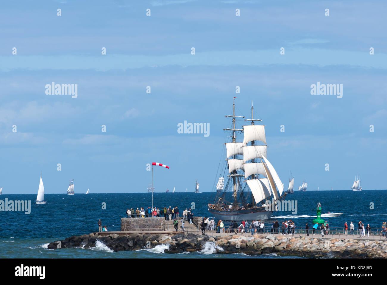 Hanse Sail 2017, Warnemünde, Rostock, Mecklenburg-Western Pomerania, Germany - Stock Image