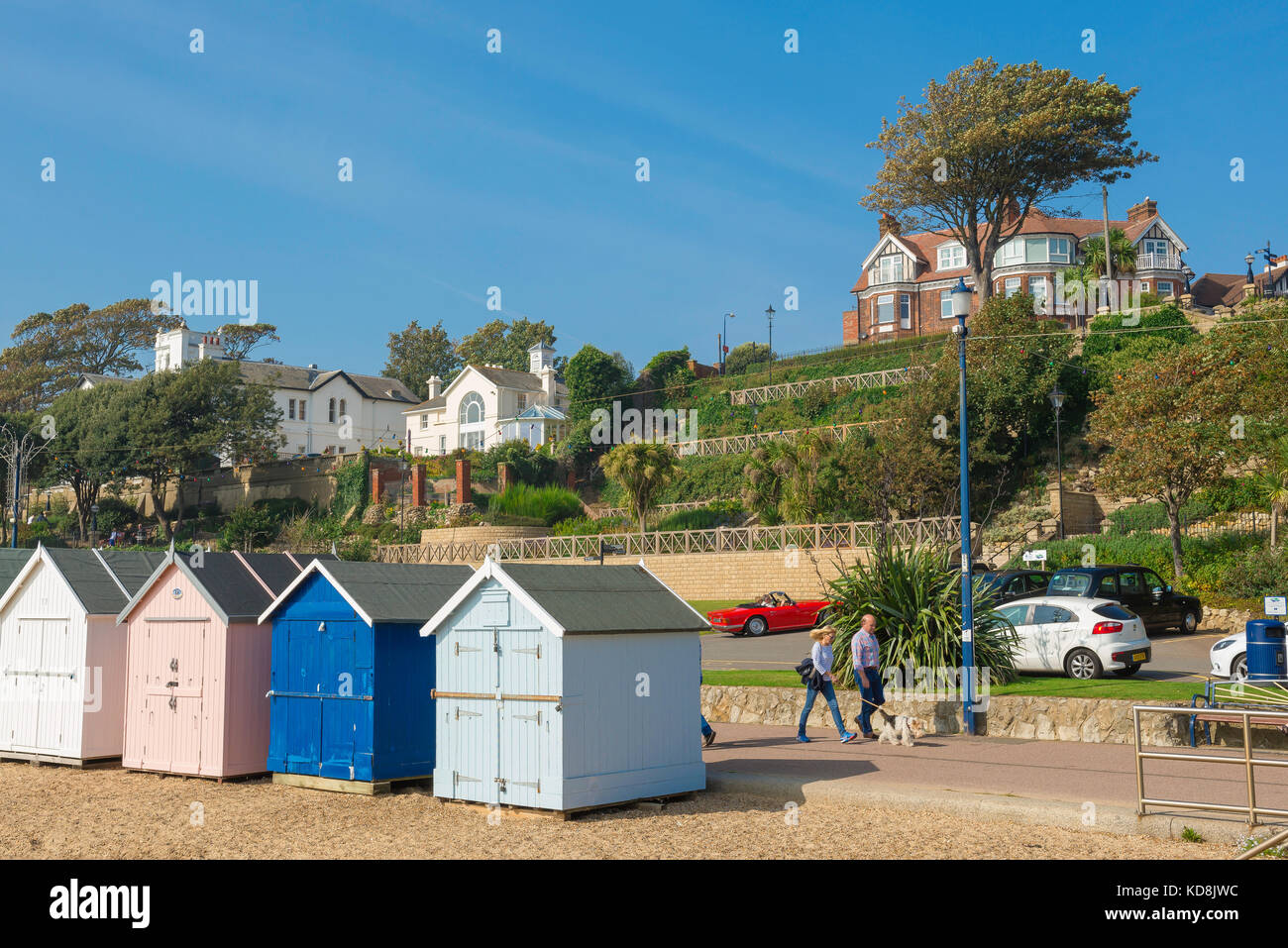 Felixstowe Suffolk coast, view of beach huts and the Esplanade Gardens along the seafront at Felixstowe, Suffolk,UK. - Stock Image
