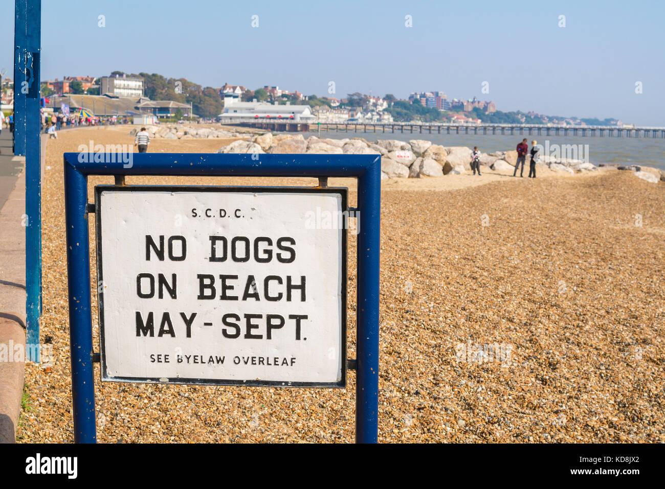 Felixstowe Suffolk beach UK, sign on Felixstowe beach prohibiting dogs during the summer season. - Stock Image