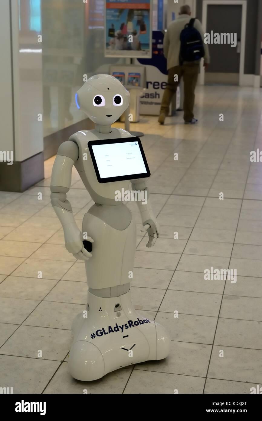 Humanoid robot ambassador at Glasgow International Airport, Scotland, UK - Stock Image