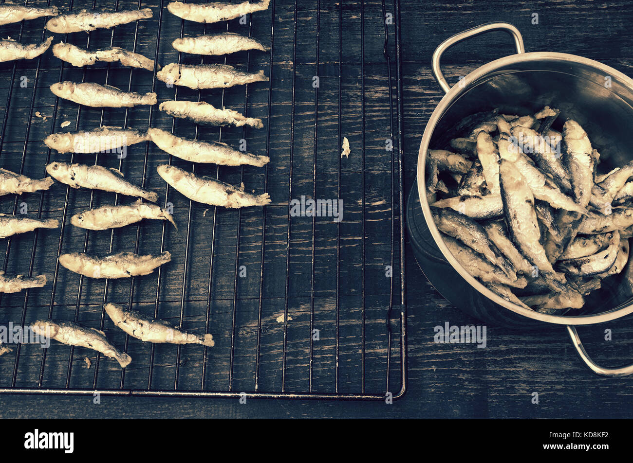 Sardines prepared in a traditional way - Stock Image