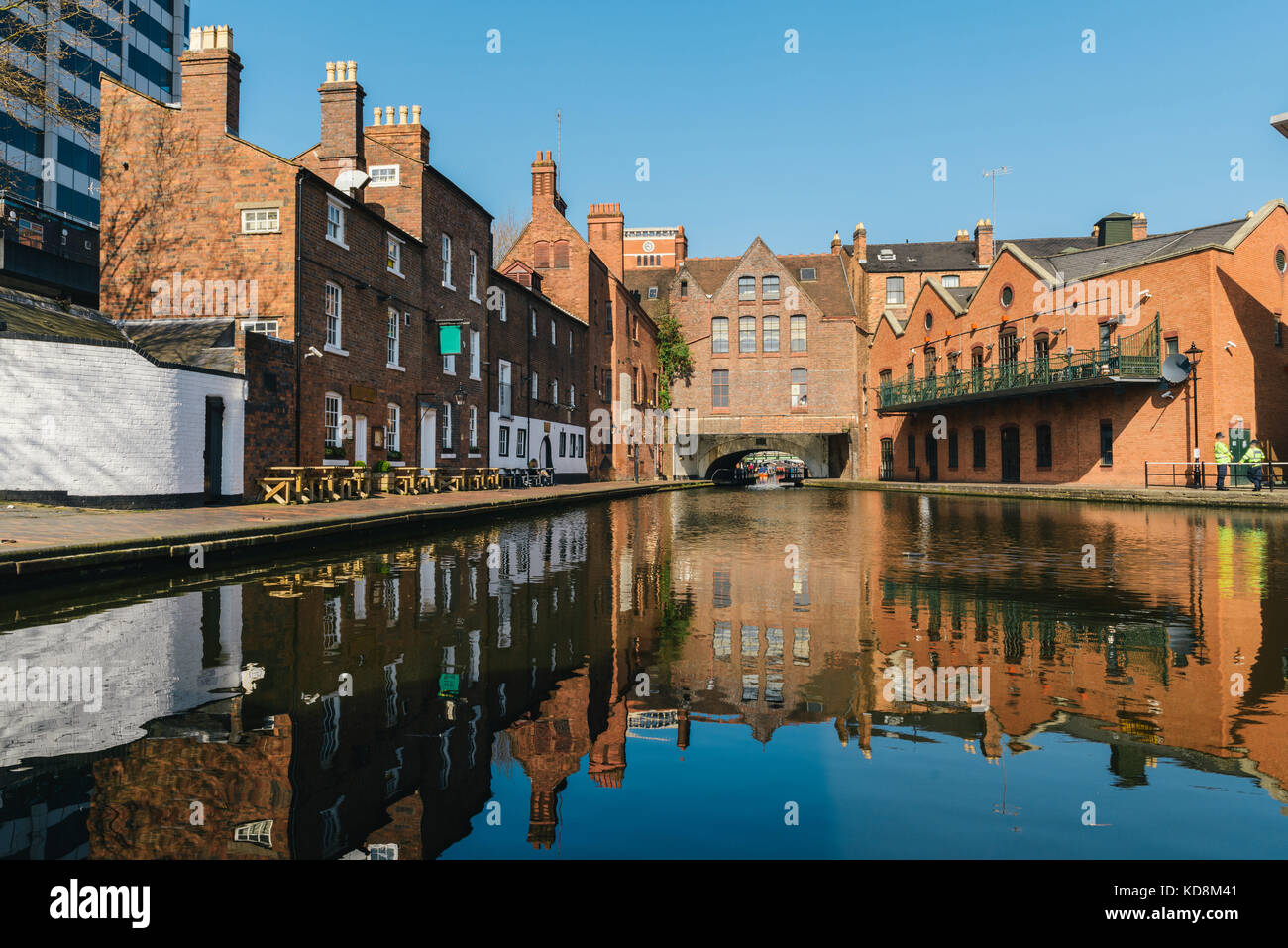 Morning reflections on Gas Street Basin, at the heart of Birmingham's canal network - Stock Image