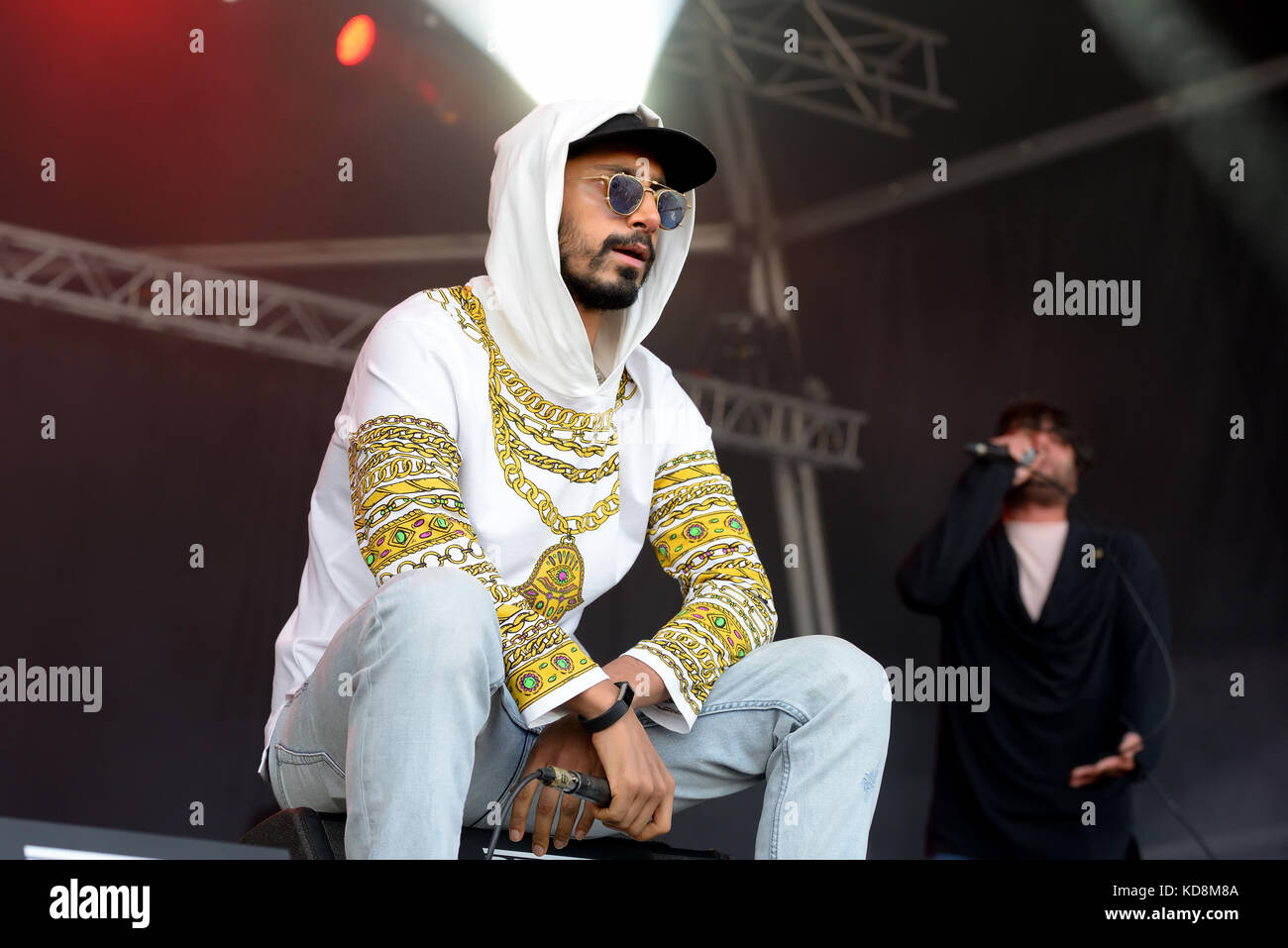 BARCELONA - JUN 3: Swet Shop Boys (Indian Pakistani hip hop group, consisting of rappers Heems and Riz MC) perform Stock Photo