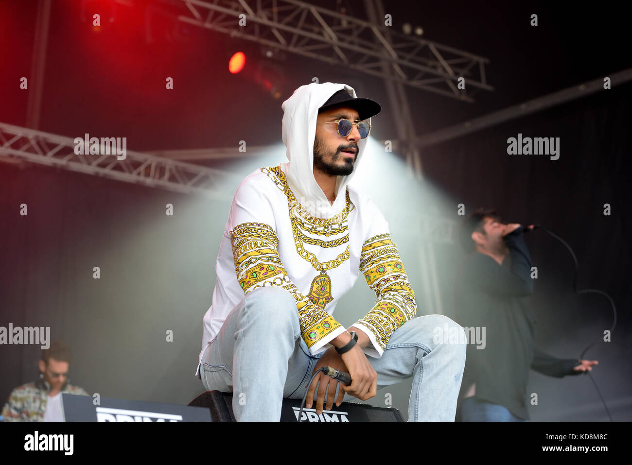 BARCELONA - JUN 3: Swet Shop Boys (Indian Pakistani hip hop group, consisting of rappers Heems and Riz MC) perform Stock Photo