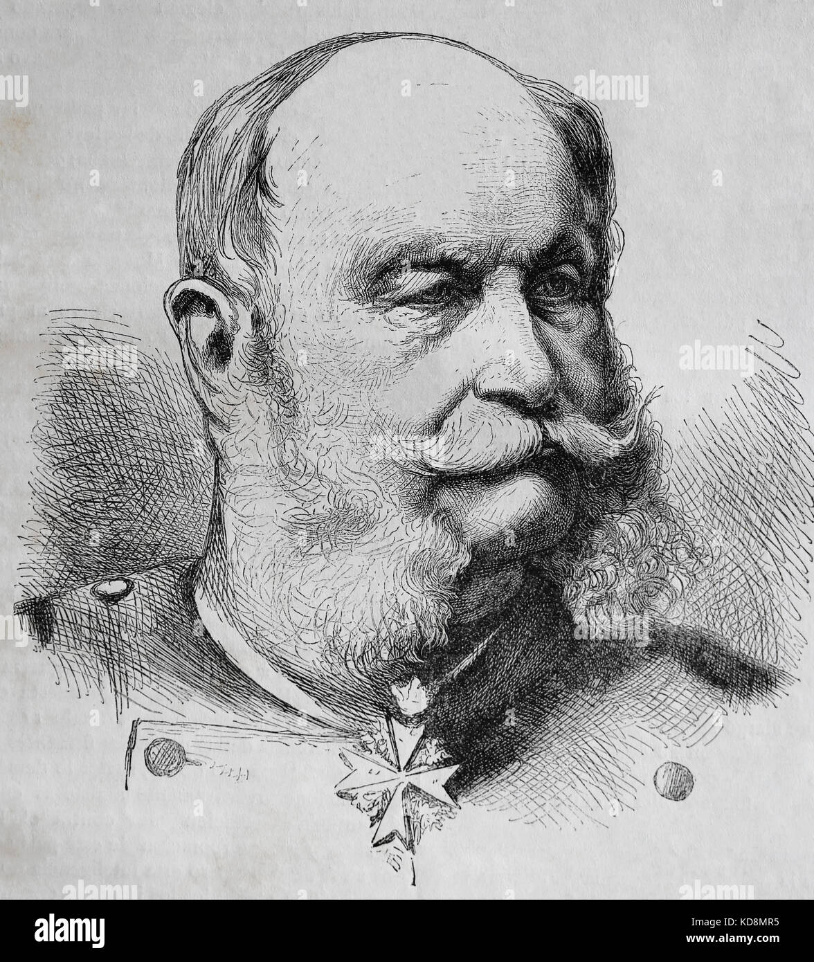 William I, German Emperor (1797-1888). Engraving, 1883. Portrait. Stock Photo