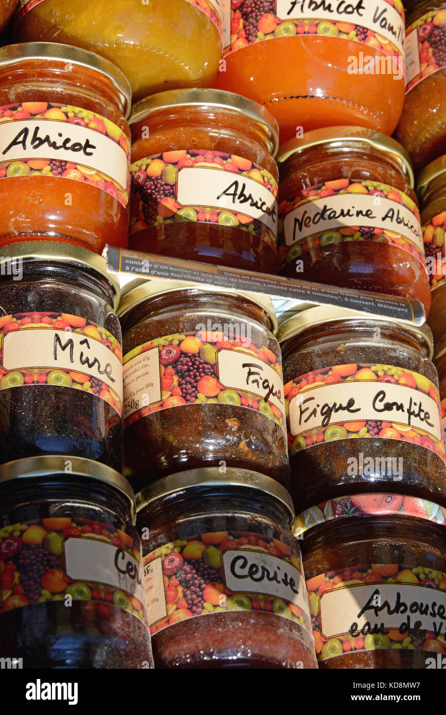 Locally produced jam, France - Stock Image