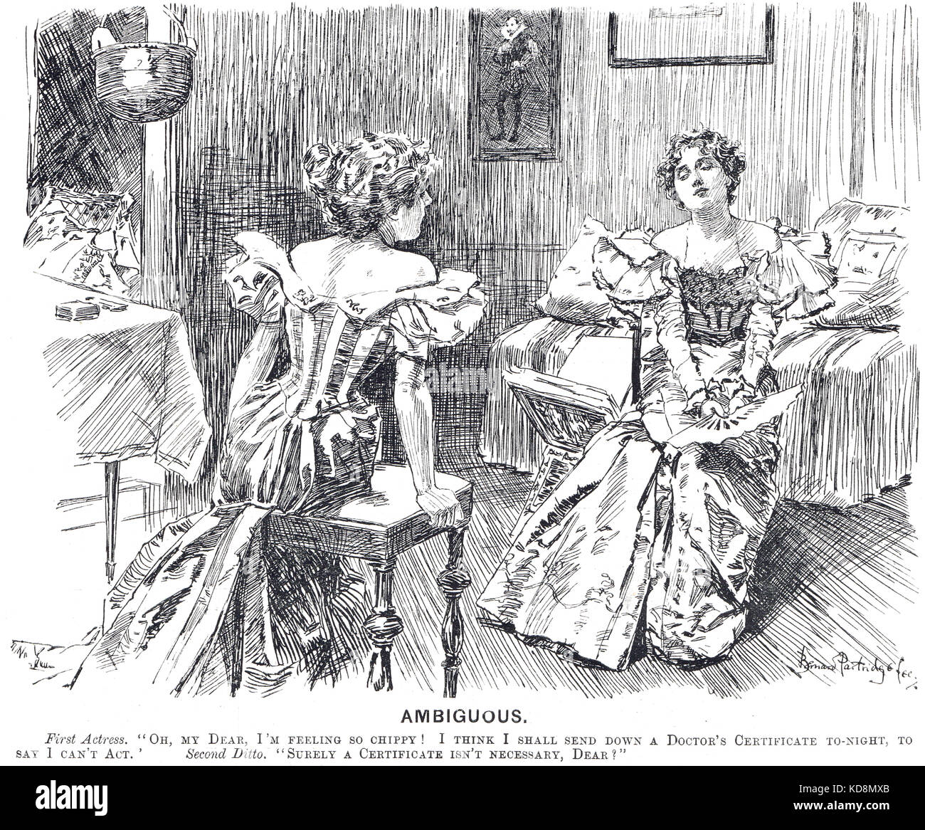 Catty Victorian Actress remark, Punch cartoon of 1897 - Stock Image