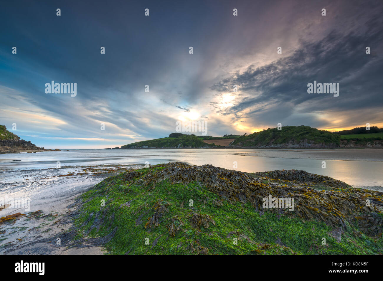 Wonwell Beach South Devon at the mouth of The River Erme. - Stock Image