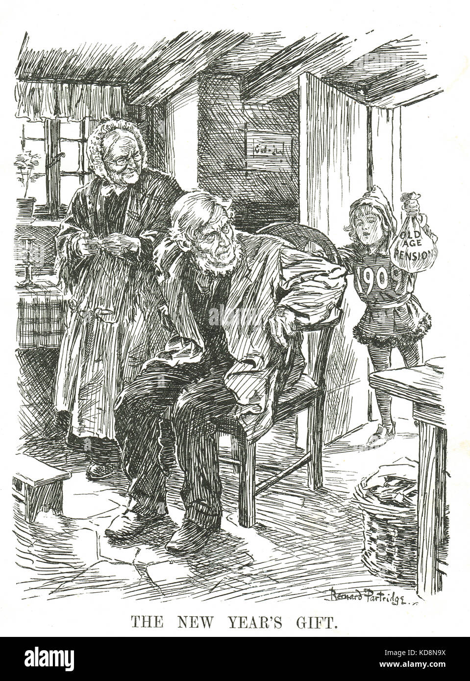 Introduction of Old Age Pensions in 1909 - Stock Image