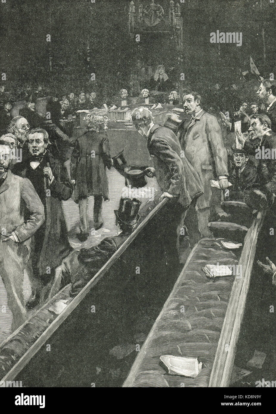 The Speakers Coup D'etat, withdrawal of the Irish home rulers from the Commons, February 1881 - Stock Image