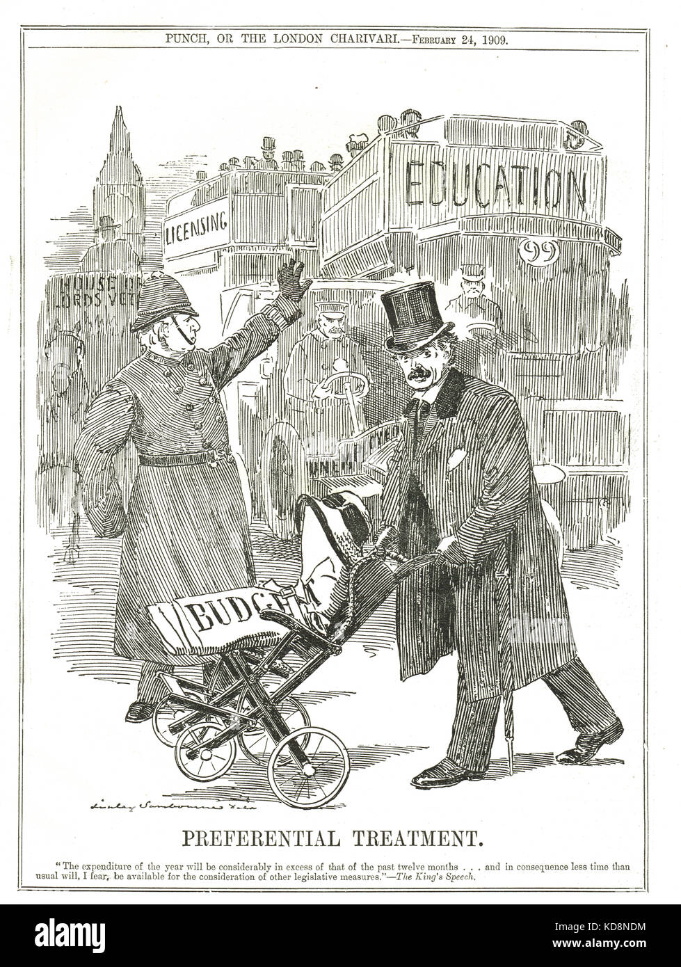 The People's budget, Punch cartoon, 1909 - Stock Image
