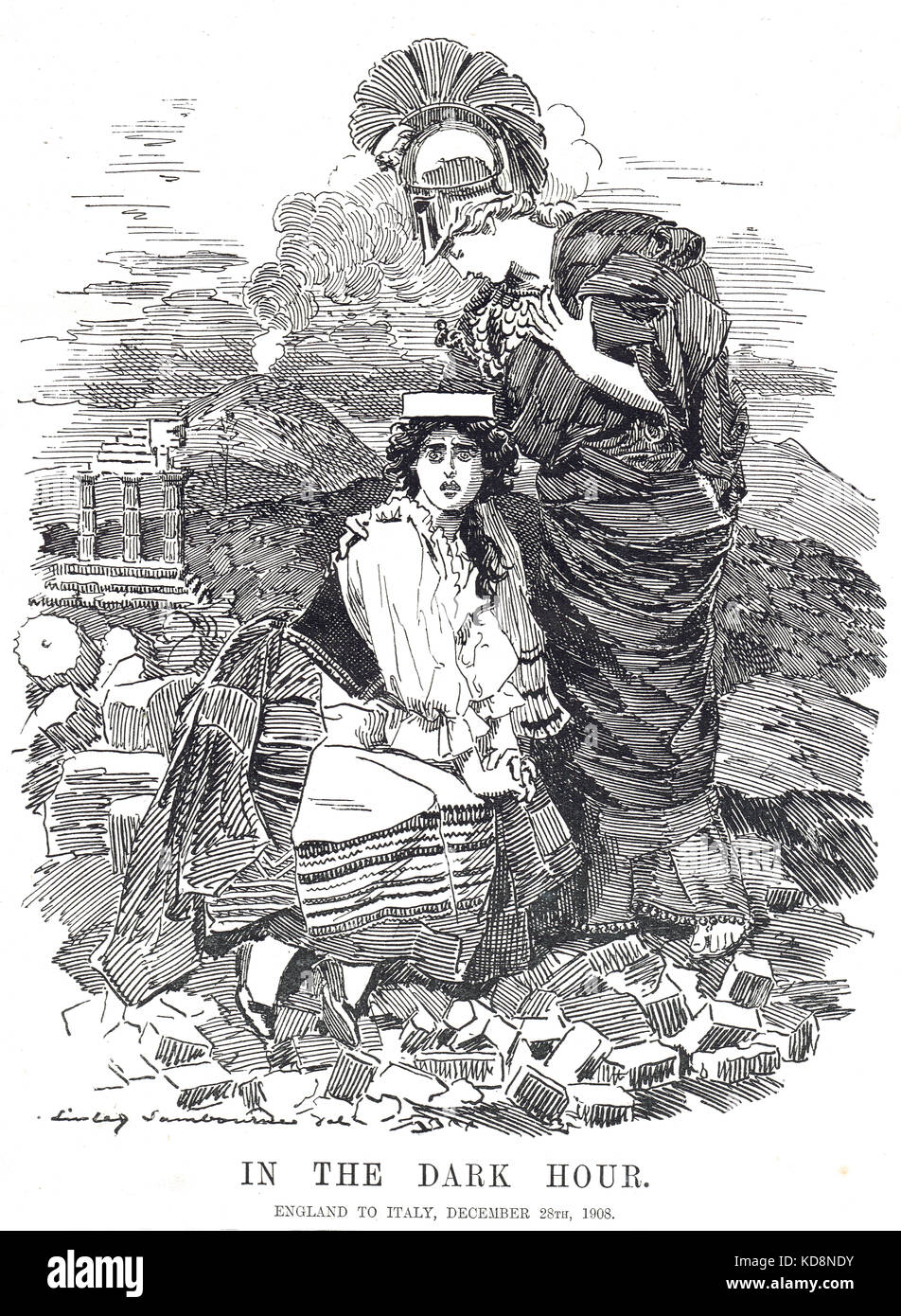 The Messina earthquake, 28 December 1908.  England offering Italy help. Punch Cartoon of 6 January 1909 - Stock Image