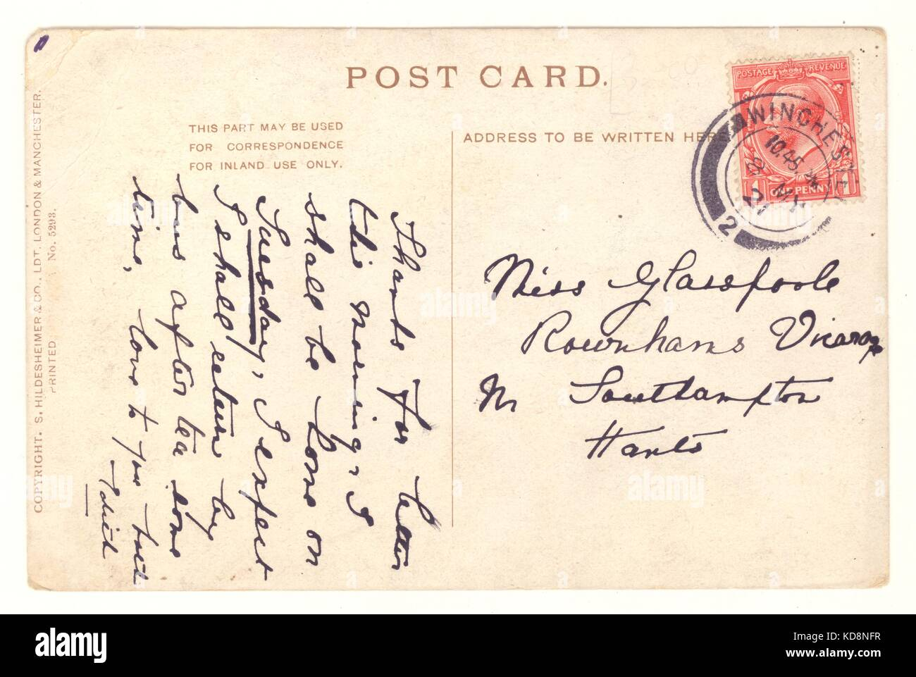 Reverse of postcard, postmarked 1921 - Stock Image