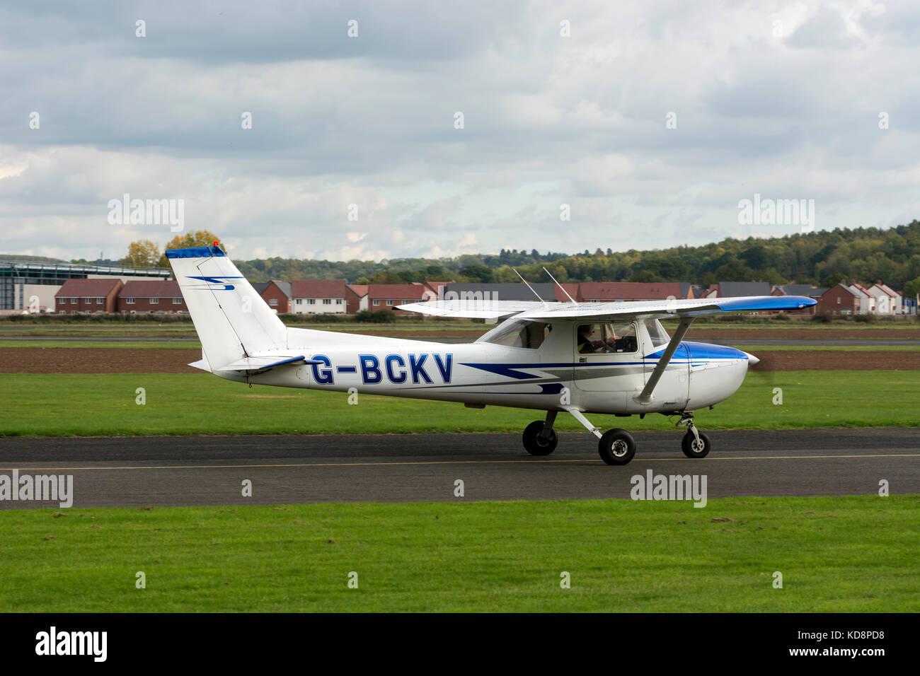 Reims Cessna FRA-150L at Wellesbourne Airfield, Warwickshire, UK (G-BCKV) - Stock Image